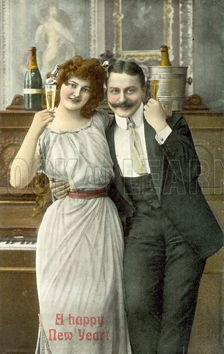 Couple drinking champagne in front of piano