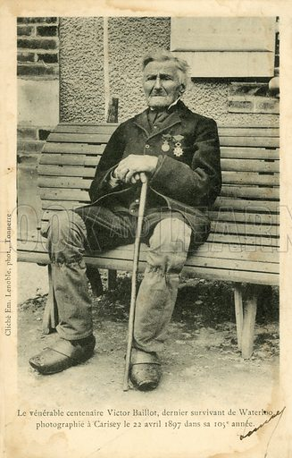 Victor Baillot, the last survivor of the Battle of Waterloo, photographed at Carisey on 22 April …