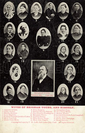 Wives of Brigham Young.  Postcard, early 20th century.