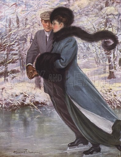 Love laughs at winter. Illustration for American Types by Clarence F Underwood (Frederick A Stokes, 1912).