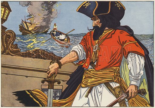 Blackbeard, the most famous of the Atlantic Coast pirates. Illustration for The Boy's Book of Pirates and the Great Sea Rovers written and illustrated by George Alfred Williams (Frederick A Stokes, 1913).