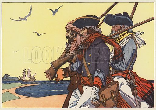 Pirates on the Island of Tortuga. Illustration for The Boy's Book of Pirates and the Great Sea Rovers written and illustrated by George Alfred Williams (Frederick A Stokes, 1913).