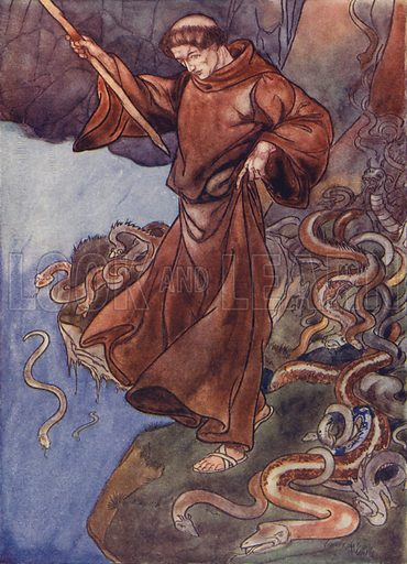 St Patrick freeing Ireland of snakes