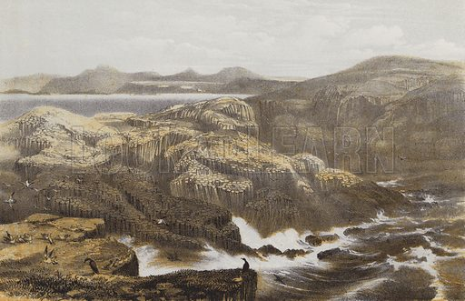 Isle of Staffa. Illustration for Scotland Picturesque Historical Descriptive by John Parker Lawson (Murdoch, c 1895).
