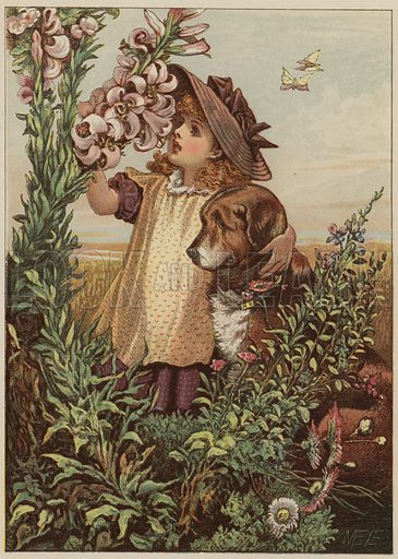 Girl with dog smelling flowers