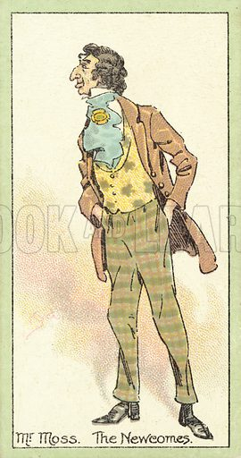 Mr Moss, The Newcomes. Illustration for one of a set of cigarette cards about Characters from Thackeray, issued by John Player, early 20th century.  Note: Trademark has been removed in Photoshop.
