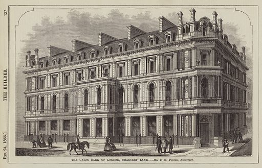 The Union Bank of London, Chancery Lane, Mr F W Porter, Architect. Illustration for The Builder, 24 February 1866.