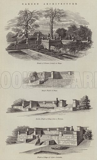 Garden Architecture. Illustration for The Builder, 4 August 1866.