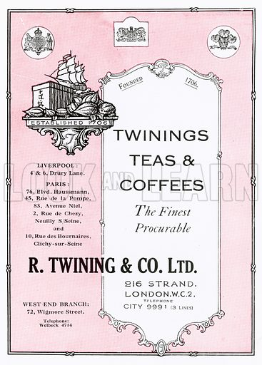 Advertisement for Twinings. Illustration for The Lure of London, issued by The Hotel Cecil, c 1920.