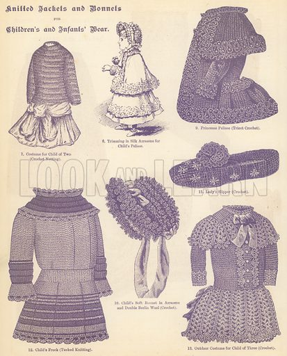 Knitted Jackets and Bonnets for Children's and Infants' Wear. Illustration for The Queen Almanac, 1886.