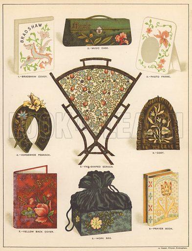 Decorative items. Illustration for The Queen Almanac, 1889.