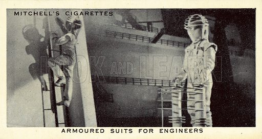 Armoured Suits for Engineers. Illustration for one of a set of cigarette cards on The World of Tomorrow, published by Stephen Mitchell & Son, early 20th century.