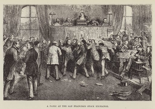 A Panic at the San Francisco Stock Exchange. Illustration for America Revisited (5th edn, Vizetelly, 1885).