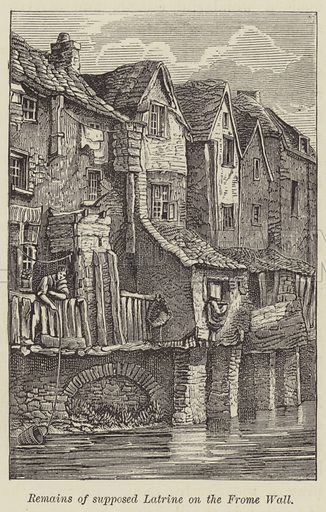 Remains of supposed Latrine on the Frome Wall. Illustration for Bristol Past and Present by JF Nicholls and John Taylor (JW Arrowsmith, 1881).