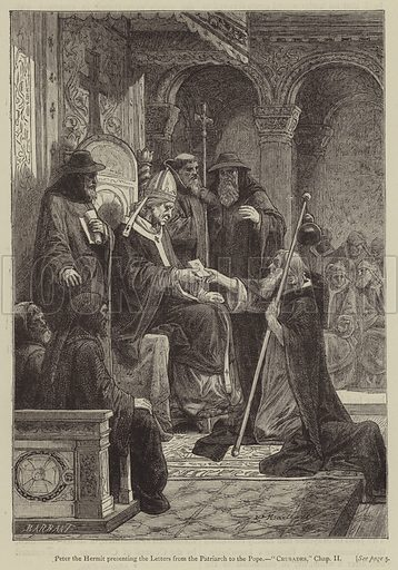 Peter the Hermit presenting the Letters from the Patriarch to the Pope