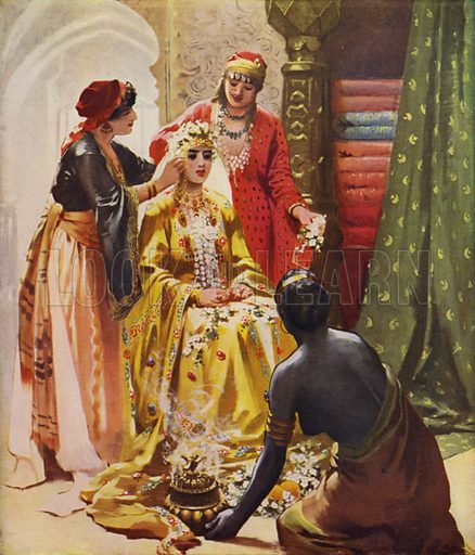 A Bride adorned for her Husband. Illustration for Everyday Life in the Holy Land by James Neil (SPCK, c 1910).