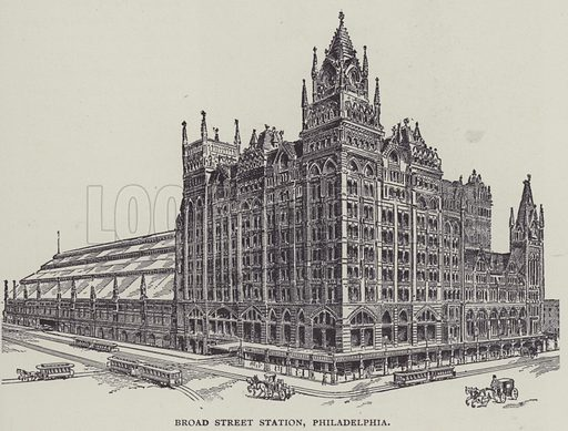 Broad Street Station, Philadelphia. Illustration for The Life of a Century, 1800 to 1900, by Edwin Hodder (George Newnes, 1901).