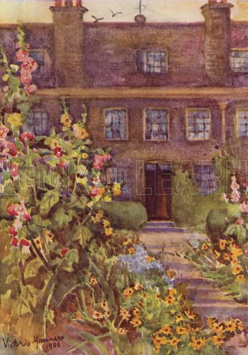 Grey Coat School, Westminster. Illustration for London Parks and Gardens by Mrs Evelyn Cecil (Archibald Constable, 1907).