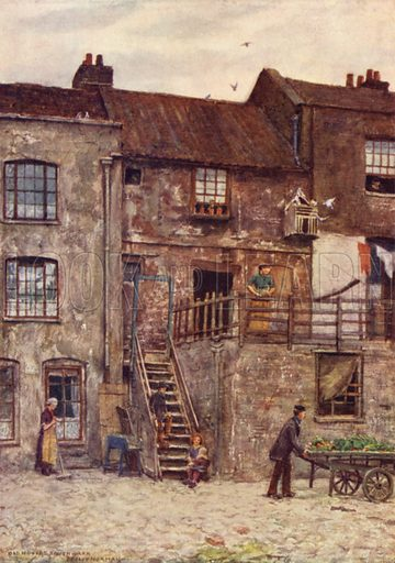 Old Houses, Inner Yard of White Hart Inn, Southwark, 1884. Illustration for London Vanished and Vanishing painted and described by Philip Norman (A&C Black, 1905).