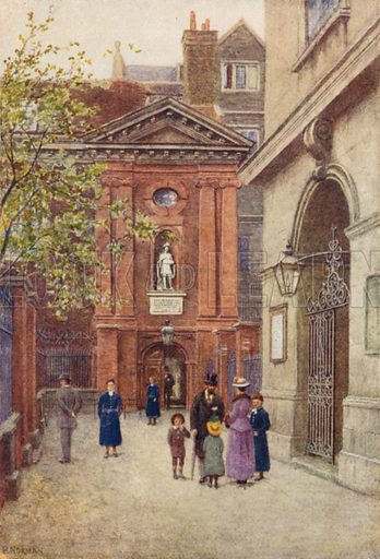 Entrances of Christ's Hospital, and of Christ Church, 1895. Illustration for London Vanished and Vanishing painted and described by Philip Norman (A&C Black, 1905).