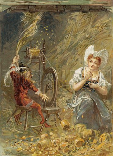 Rumpelstiltzkin spinning. Illustration for Once Upon A Time, the favourite nursery tales (Ernest Nister and E P Dutton, c 1890).