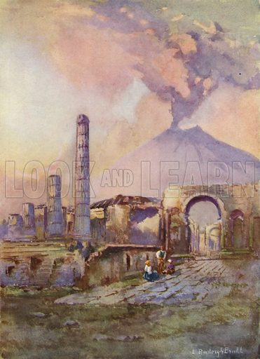 Pompeii, Vesuvius in the distance. Illustration for Hutchinson's Picturesque Europe (c 1925).