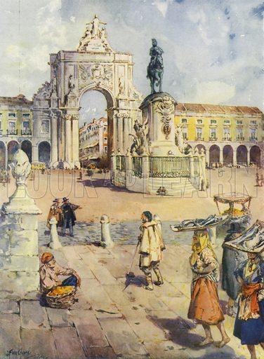 The Praca do Commercio, Lisbon. Illustration for Hutchinson