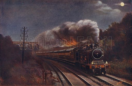 The Hook of Holland Express by Night, Liverpool Street Station to Parkeston Quay (Harwich), Great Eastern Railway. Illustration for Railways of the World by Ernest Protheroe (George Routledge, c 1914).