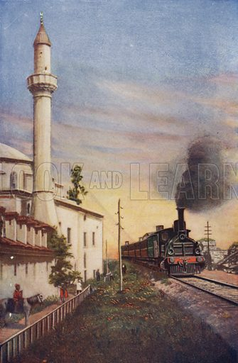The Orient Express entering Constantinople, passing the Mosque of S Sophie. Illustration for Railways of the World by Ernest Protheroe (George Routledge, c 1914).
