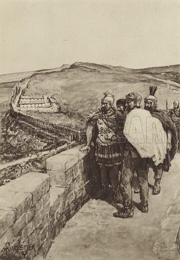 A General looks out from Hadrian's Wall. Illustration for The Roman Soldier by Amedee Forestier (A&C Black, 1928).