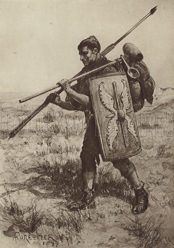 The Impeditus, or Fully-equipped Foot Soldier. Illustration for The Roman Soldier by Amedee Forestier (A&C Black, 1928).