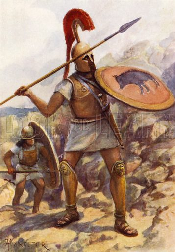 A Hoplite in the Army of Servius Tullius. Illustration for The Roman Soldier by Amedee Forestier (A&C Black, 1928).