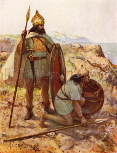 Italic Bronze-age Warriors on Look-out. Illustration for The Roman Soldier by Amedee Forestier (A&C Black, 1928).