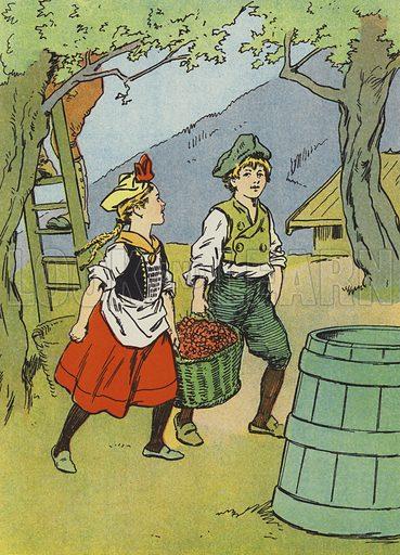 German children gathering cherries