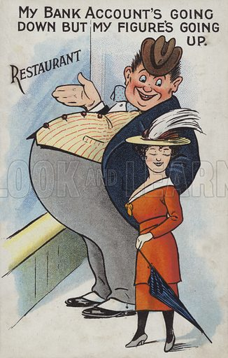 My Bank Account's Going Down, but my Figure's Going Up. Postcard, early 20th century. Note: Image is dirty and needs retouching if used at size.