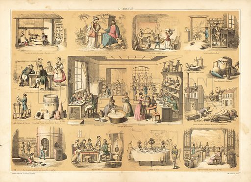 Clay. Double page illustration contained in one of the series of Les Recreations Instructives, c 1865.