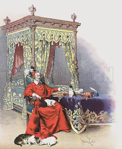 Richelieu playing with his pet cats