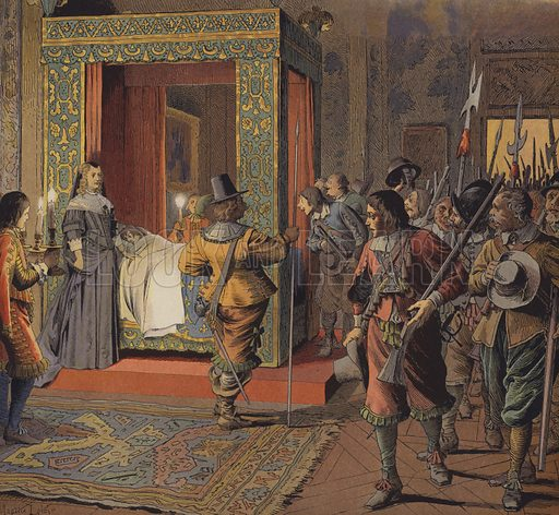 The night of 9 February 1651, the militia filing past the bed of the young Louis XIV