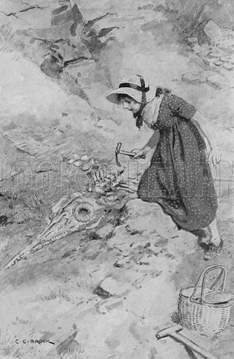 At Lyme Regis, Mary Anning, aged 12, coming upon the first Ichthyosaurus found in England.
