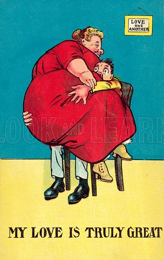Man being squashed by extremely fat woman. Postcard, early 20th century.