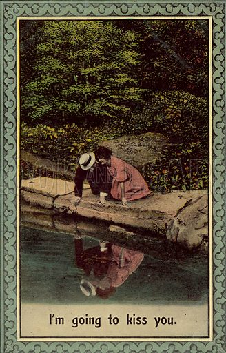 Kissing in reflection in pond.  Postcard, early 20th century.