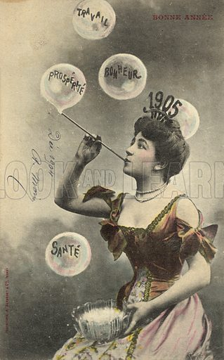 Pretty girl blowing bubbles, for 1905