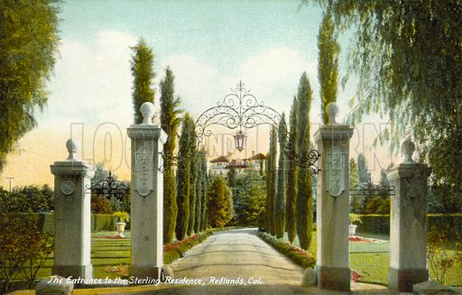 Entrance, The Sterling Residence, Redlands, California, USA.  Postcard, early 20th century.