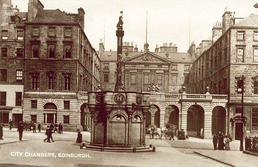City Chambers, Edinburgh, Scotland.  Postcard, early 20th century.