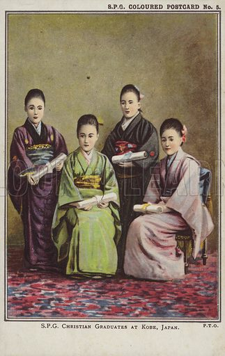 Christian graduates at Kobe, Japan.  Postcard, early 20th century.