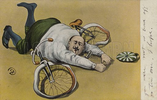 Fat man, fallen off his bicycle. Postcard, early 20th century. Signed EK.