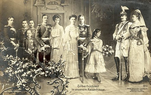 Silver Wedding of Kaiser Wilhelm II and Empress Augusta Victoria of Germany, 1906. Postcard, early 20th century.