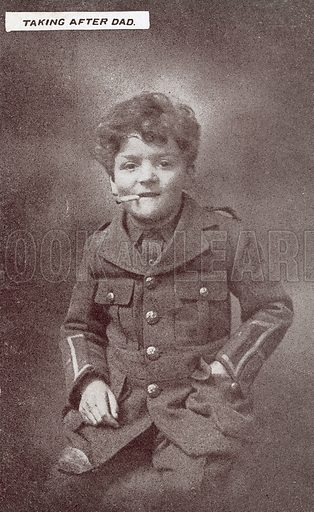 Taking after Dad, Boy smoking in soldier's uniform