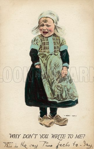 Little girl, in clogs, crying