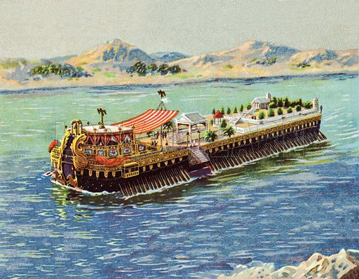 Galley of the Emperor Caligula on lake Nemi, Italy. Image from Liebig card, early 20th century. Image extended at top and bottom in Photoshop.